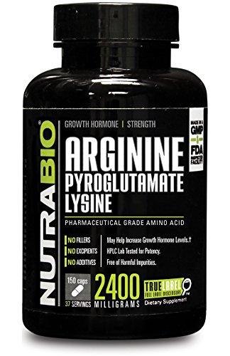 NutraBio L Arginine Pyroglutamate Lysine 150 Capsules