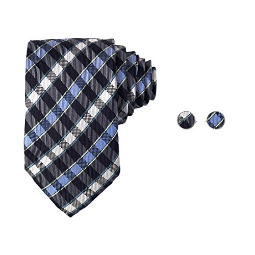 Y&G YABC0001 Blue Checkered Cheap For Groom Woven Silk Tie Inspire For Groomsmen Neck Tie