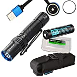 EdisonBright Olight M2R Warrior USB rechargeable 1500 Lumen CREE LED tactical Flashlight EDC, 18650 rechargeable battery, magnetic charging cable with BBX3 battery carry case bundle (Cool White)