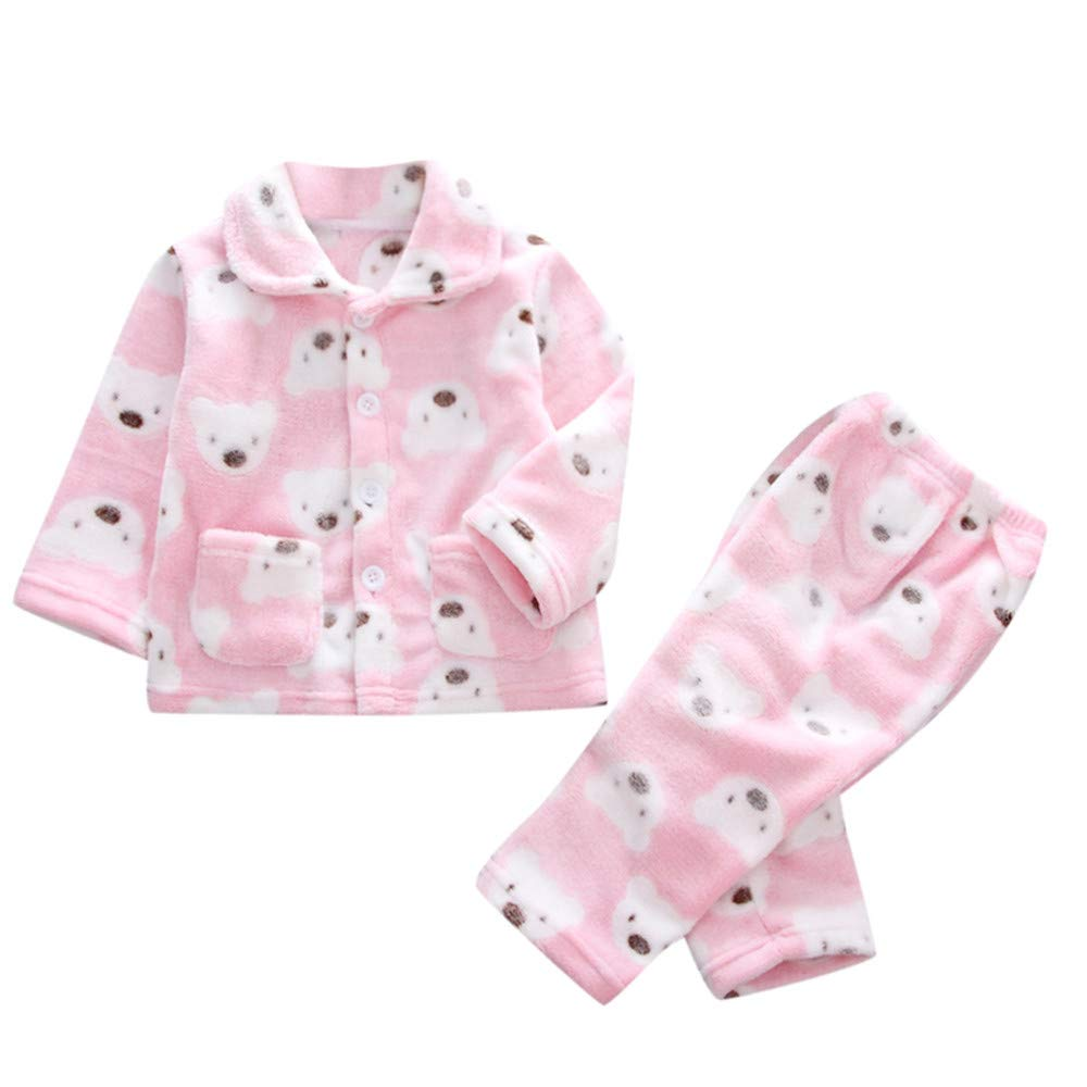 Kids Fleece Pajamas, Zerototens Toddler Kids Baby Boys Girls Long Sleeve Animal Print Button Coat Blouse Tops and Pants Autumn Winter Thick Warm Plush Sleepwear Suit