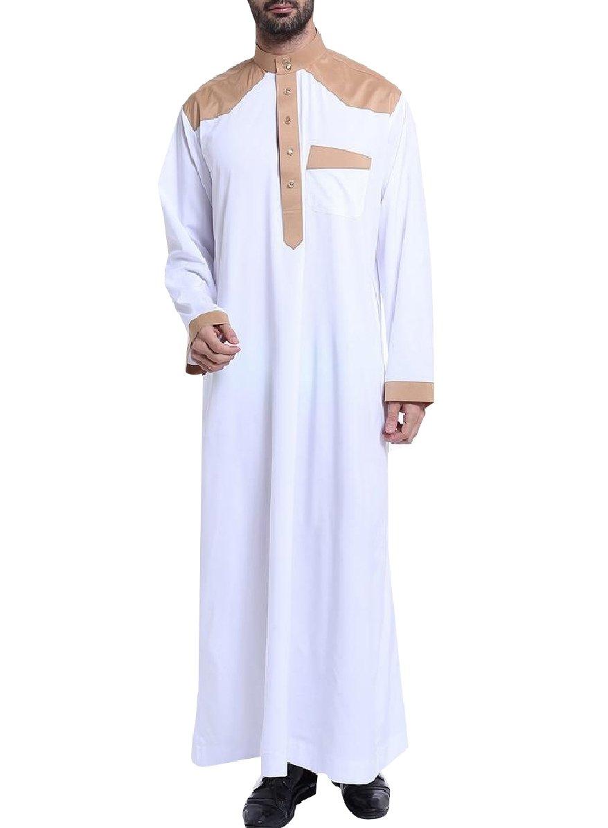 CuteRose Men Stitch Middle East Mandarin Collar Muslim Thobes Dishdasha White S