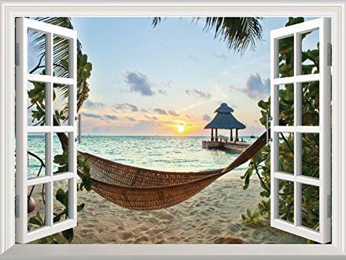 FLFK Sunset Relaxed Beach 3D Window View Decal Wall Sticker Home Decor Art Mural