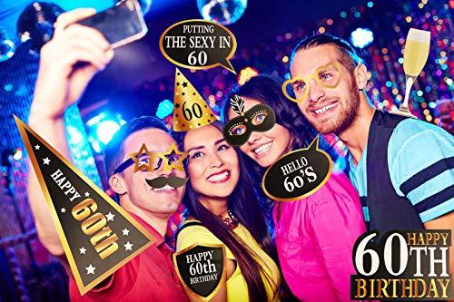 KissDate 24Pcs 60th Birthday Photo Booth Props Funny DIY Kit For Men Women