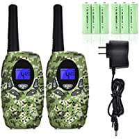 Swiftion Handheld Kids Walkie Talkies for boys Rechargeable 22 Channel 0.5W FRS/GMRS Walky Talky for Kids 2 Way Radios Kids walkie talkies camouflage disruptive pattern (Camouflage)