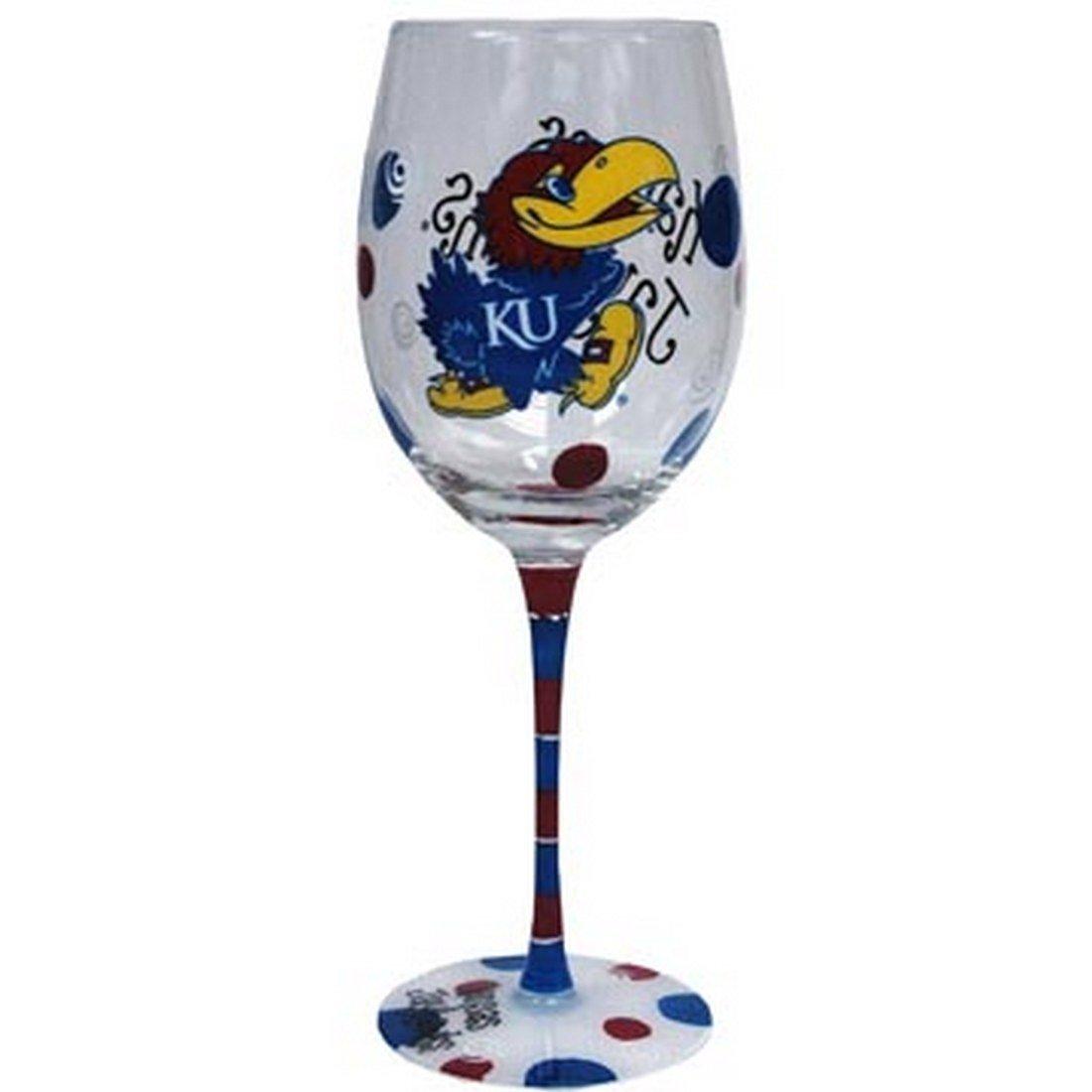 Kansas Jayhawks Blue and Red Hand Painted Wine Glass Jenkins Enterprises/' COMINHKPR119258