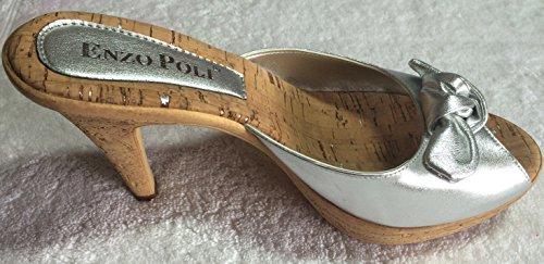 ELLIED - Sandalias de vestir de Piel para mujer Plateado plata