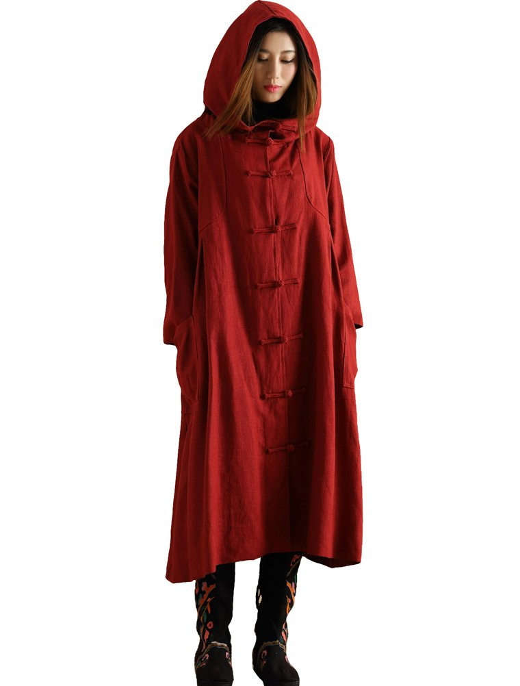 Mordenmiss Women's Long Sleeve Hooded Frog Button Coat with Two Pockets Style 4 L Dark Red