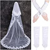 LONGBLE 2T Lace Edge Bridal Wedding Veils Women's 2 Tiers Long Cathedral Veil Sequins Decor with Free Comb and White Gloves