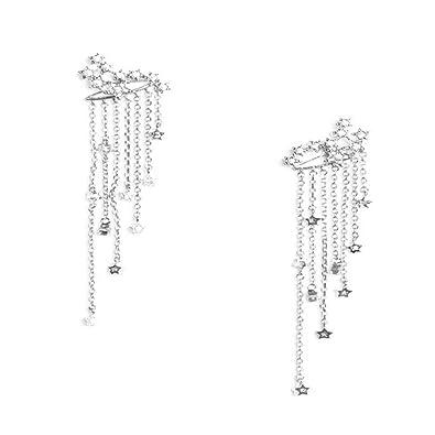364c3f4e3df562 Tassel Earrings ManxiVoo Shooting Star Rhinestone Long Tassels Dangle Drop  Earrings (Silver)