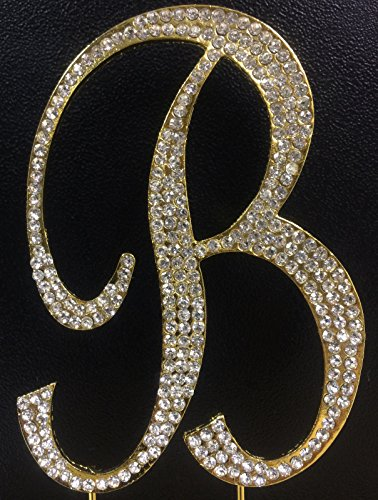 Crystal Rhinestone Covered Gold Monogram Wedding Cake Topper Letter -