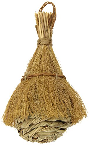 (Prevue Pet Products BPV1156 Natural Fiber Finch Covered Tiki Hut for Birds)