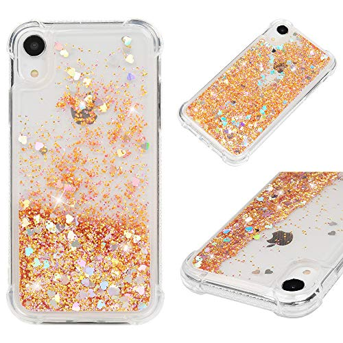 Mavis's Diary iPhone Xr Case, Bling Glitter Sparkle Flowing Liquid Quicksand Moving Sequins Protective Soft TPU Rubber Cover for iPhone Xr 2018 - Gold