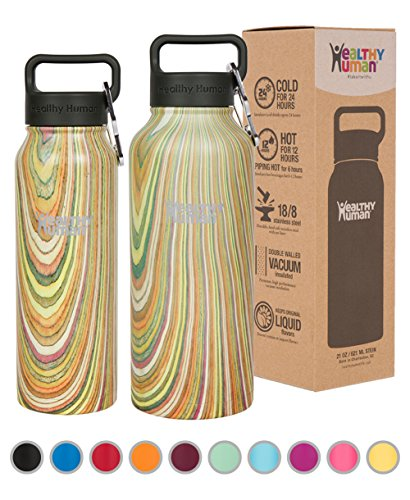 Insulated Travel Bottle (Healthy Human Stainless Steel Insulated Travel Sports Water Bottle Thermos - Leak Proof - No Sweating, Keeps Your Drink Hot & Cold - Wood Stock - 21 oz)