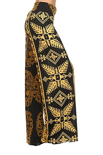 Solid and Printed Trendy Long Wide Leg Palazzo Pants (LARGE, GOLDEN TRIBAL)