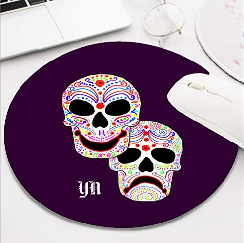 Nxmouse Customization Round Gaming Computer Keyboard Mouse Pad Mouse Mat with Non-Slip Rubber Base(8 Inch) Comedy Tragedy Halloween dotd Skulls Monogram -