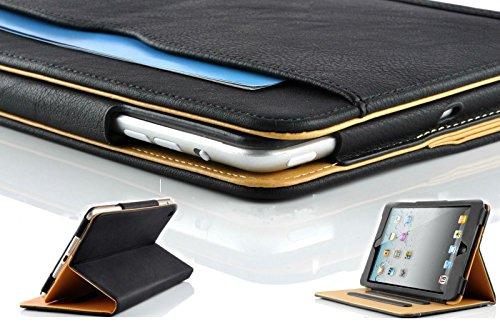 New S-Tech iPad Mini 4 Soft Leather Wallet Smart Cover with Sleep / Wake Feature Flip Case for Apple iPad Mini 4 (Black) - New Tech Mini