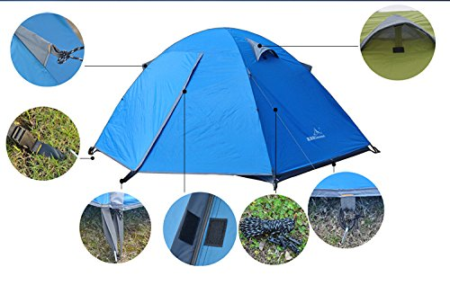 2 Person Double Layer Outdoor Waterproof Camping Tent Set+Picnic Mat +Light