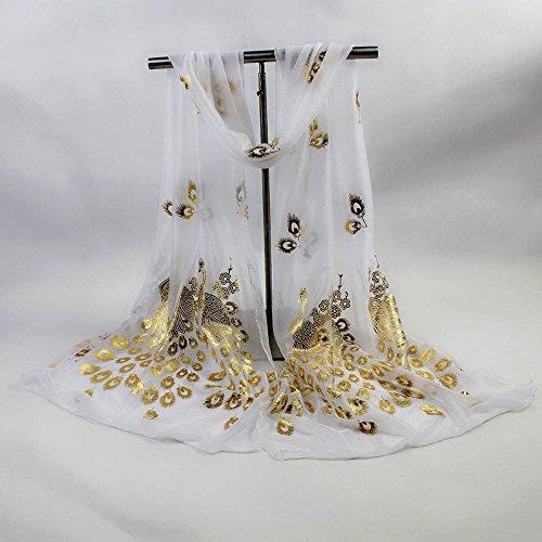 Mode Foulards Châles Femmes Élégant Doux Paon Écharpe De Automne Fleur Blanc Aimee7 SpdwYqp