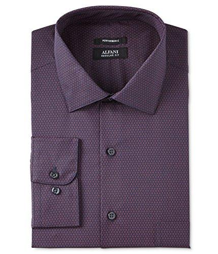 (Alfani Classic Regular Fit Micro Dots Long Sleeve Button Down Shirt (Berry, 15 34-35))