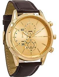 Daniel David Men  GoldBrown Leather Watch DD14003