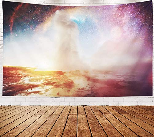 Yecationy Beach Tapestry, Tapestry Psychedelic Tapestry 80x60 Inch Eruption in Iceland Fantastic Colors The Magical Starry Sky NASA Geyser Tapestry Wall Hanging Living Room Decoration Tapestries -