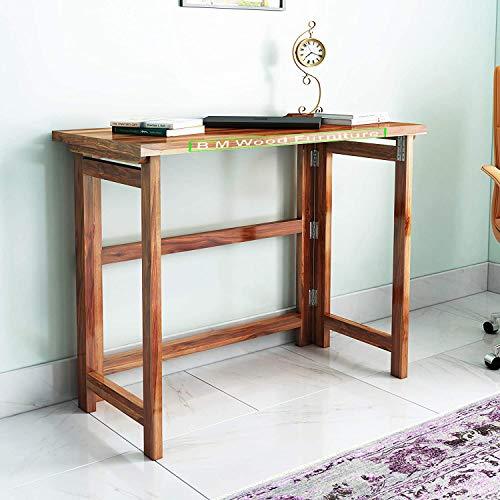 BM WOOD FURNITURE Solidwood Foldable Study Table/Workstation  Shesham Wood