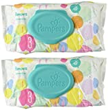 Pampers Sensitive Wipes Travel Pack 56 Count (Pack of 2)