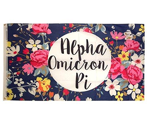 Alpha Omicron Pi Floral Pattern Sorority Flag Banner Greek Sign Decor ()