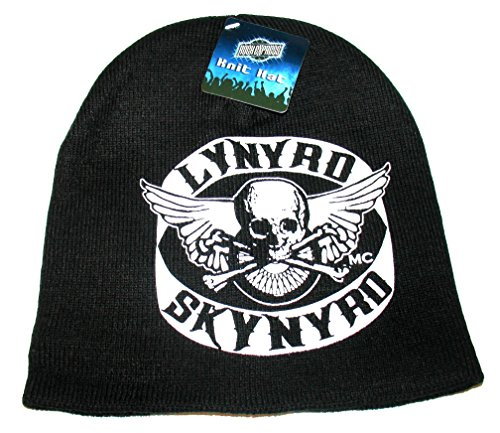 Officially Licensed Lynyrd Skynyrd Black White Knit Beanie Cap Stocking Hat Skull Wings