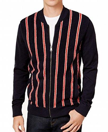 Tommy Hilfiger Navy Mens Full Zip Striped Sweater Blue 2XL - Full Zip Striped Sweater