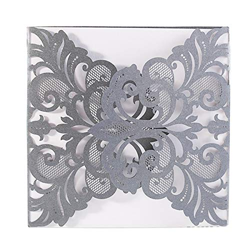 - Luxury Silver Gray Laser Cut Lace Floral Wedding Invitation Invite Card, Cover Only (50PCS)