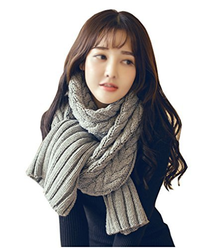 Unisex Couples Knitted Long Infinity Scarf Womens Mens Winter Pure
