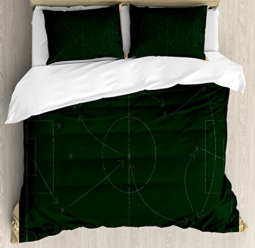 Soccer Queen Size Duvet Cover Set by Ambesonne, Tactic Diagram with Pass and Goal Arrangement Attacking Defending Chalkboard, Decorative 3 Piece Bedding Set with 2 Pillow Shams, Dark Green Beige by Ambesonne