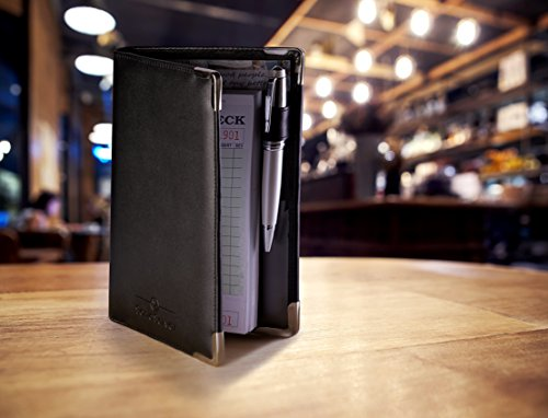 Deluxe Server Book Organizer for Restaurant Waiter Waitress Waitstaff   Comfortably Fits in Apron   9 Pockets includes Zipper Pouch with Pen Holder   Holds Guest Checks, Money, Order Pad by Sonic Server (Image #7)