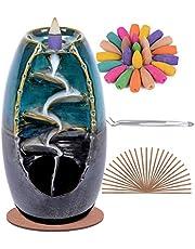 SPACEKEEPER Backflow Wierookhouder Waterval Wierookbrander, Keramische Aromatherapie Ornament Home Decor met 120 Backflow Wierook Kegels + 30 Wierook Stick, Blauw