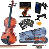 Mendini Size 3/4 MV300 Solid Wood Violin with Tuner, Lesson Book, Shoulder Rest, Extra Strings, Bow and Case, Satin Antique Finish