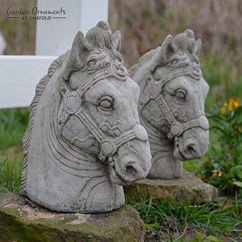 prezzi all'ingrosso Onefold – – – Testa di cavallo paio protezione pilastro statua da giardino statua scultura Home Decor porta post  l'intera rete più bassa