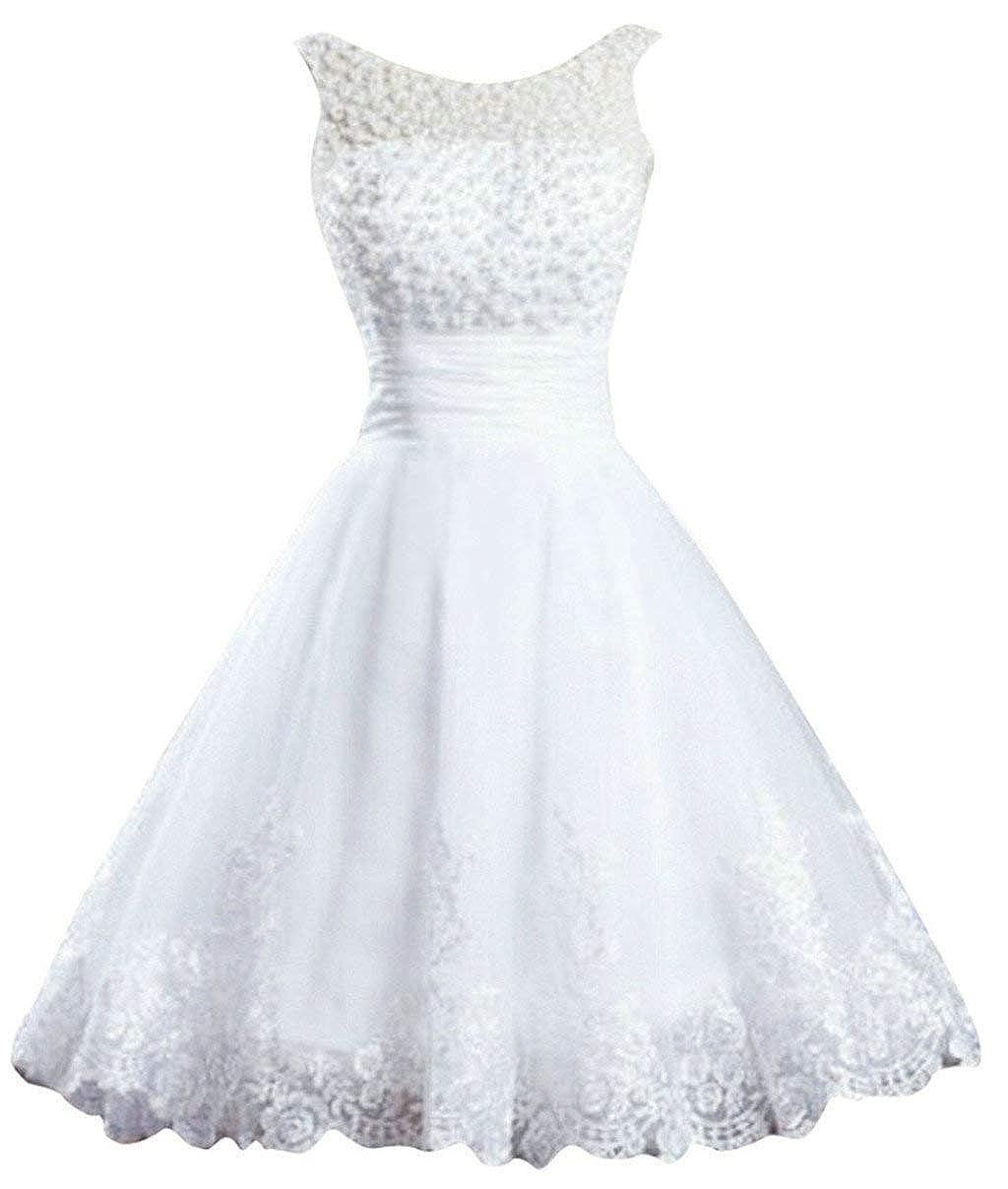 White Vantexi Women's Elegant Sheer Neck Pearls Short Wedding Dresses Prom Ball Gowns