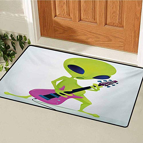 Popstar Party Inlet Outdoor Door mat Cartoon Alien Character Playing Electric Guitar Music Monster Catch dust Snow and mud W23.6 x L35.4 Inch Apple Green Pink Navy Blue