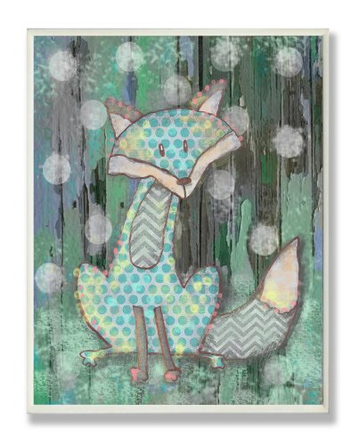 [The Kids Room by Stupell Distressed Woodland Fox Rectangle Wall Plaque] (Animals That Starts With Letter E)