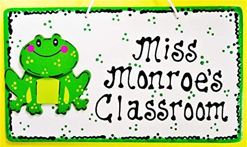 Personalized Teacher Frog Sign Name Plaque School Classroom Aide Door Wall Hanger Home Decor tokomillcrafty