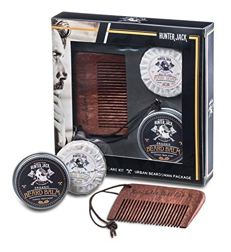 Master Beard Care Kit, 3pc - Handmade Beard Comb, Fresh Beard Soap, Healthy Beard Balm - Great Beard Kit for Mustache and Beard Grooming - Signature Fresh Manly Scent - Premium Gift Box - Free eBook