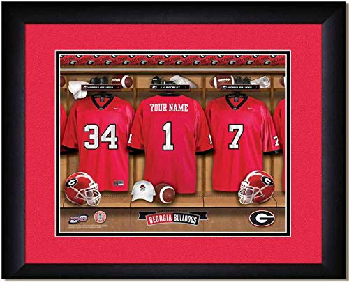 Room Georgia Locker Bulldogs - Georgia Bulldogs University Football Team Locker Room Personalized Jersey Officially Licensed NCAA Sports Photo 11 x 14 Print