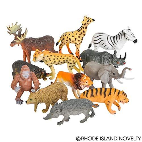 Rhode Island Novelty 097138723420, 12, Zoo Safari Animal Figures 3 - 4.5