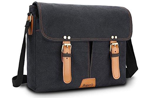 Bagerly Canvas Messenger Bag Hob Bag Shoulder Bag Laptop Bag Briefcase Fits 14 inch Laptop Satchel Flap-Over Business Bag for Men