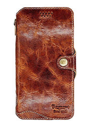 Yogurt for Huawei Honor 6X Genuine Leather Wallet Cases Cover Handmade Dark Brown by Yogurt