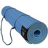 MATYMATS Non Slip TPE Yoga Mat with Carry Strap for Hot Yoga Pilate Gymnastics Bikram Meditation Towel- High Density Thick 1/4'' Durable Mat 72''*24'' Eco Safe Non Toxic