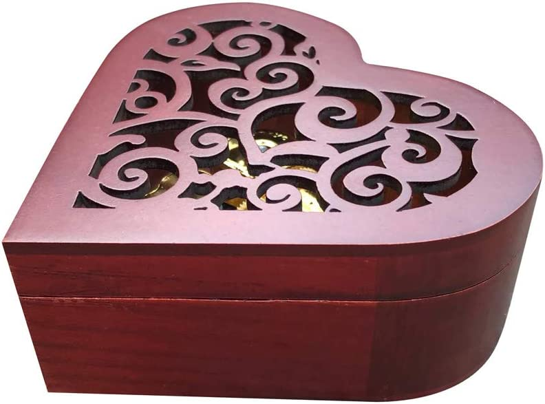 Brahms Lullaby 50 Tunes Option Brown Wooden Hollow Out Heart Shape Music Box with Sankyo Musical Movement