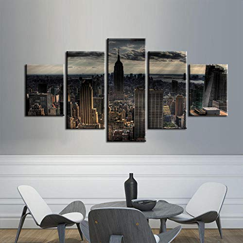 Bzdmly 5 Canvas Paintings Wall Decor Modern Wall Art Home Decoration Frame Painting Prints Pictures Cityscape Series-B