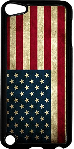 Grungy American Flag Jacks Outlet TM Hard Black Plastic Case for the Apple iPod Touch 5th Generation